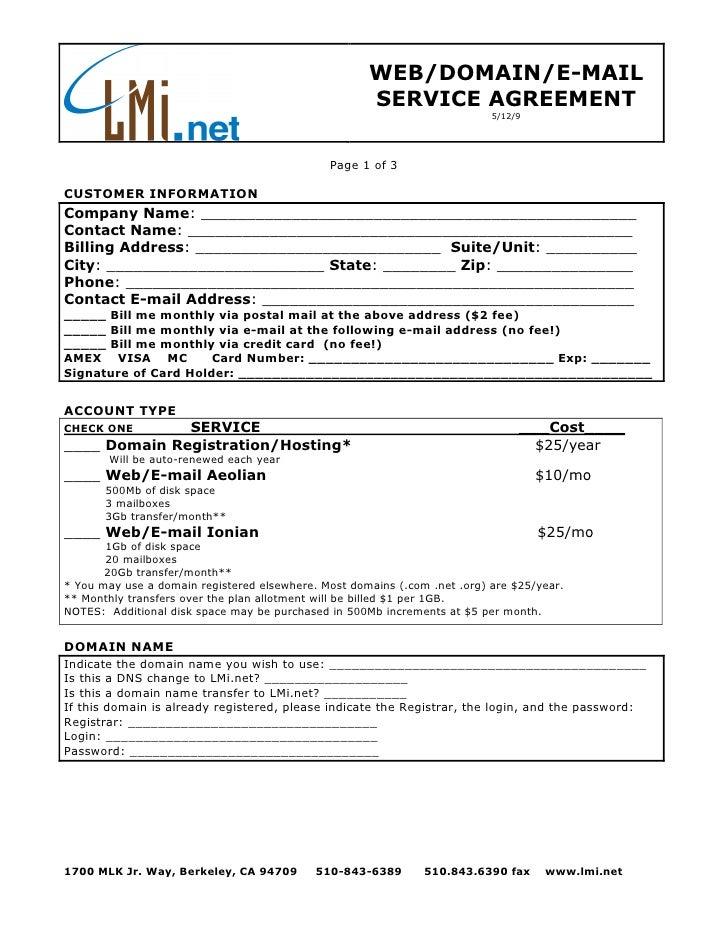 WEB/DOMAIN/E-MAIL                                                      SERVICE AGREEMENT                                  ...