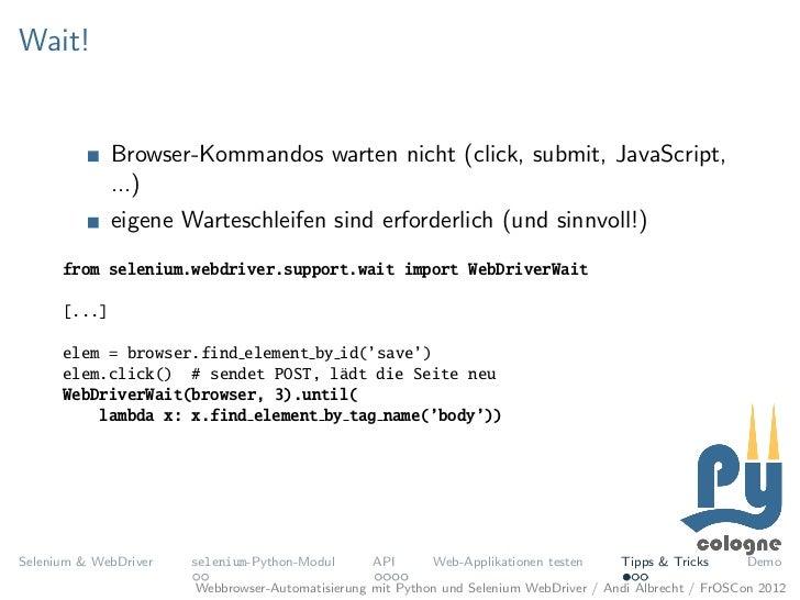 Webbrowser-Automatisierung mit Python und Selenium WebDriver