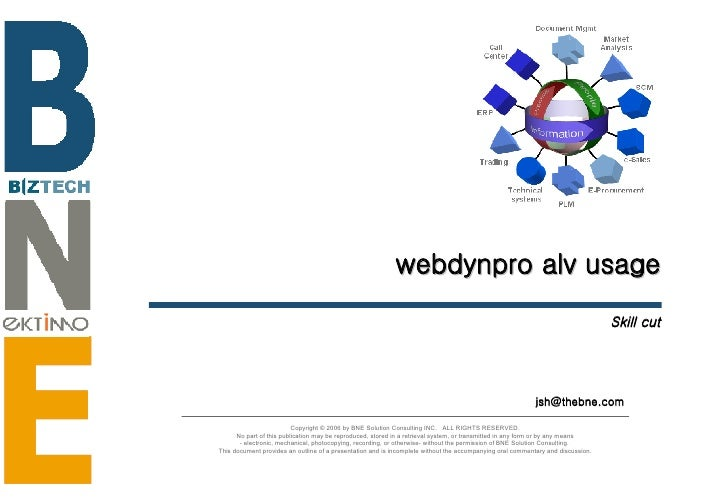 webdynpro alv usage Skill cut [email_address] Copyright © 2006 by BNE Solution Consulting INC.  ALL RIGHTS RESERVED. No pa...