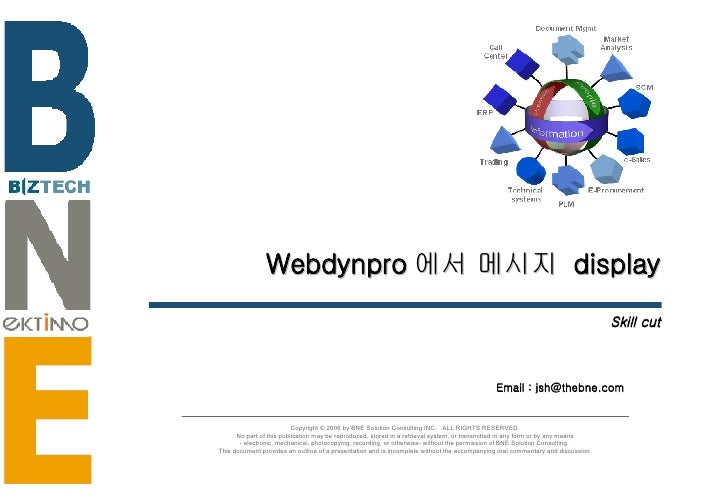 Webdynpro 에서 메시지  display Skill cut Copyright © 2006 by BNE Solution Consulting INC.  ALL RIGHTS RESERVED. No part of this...