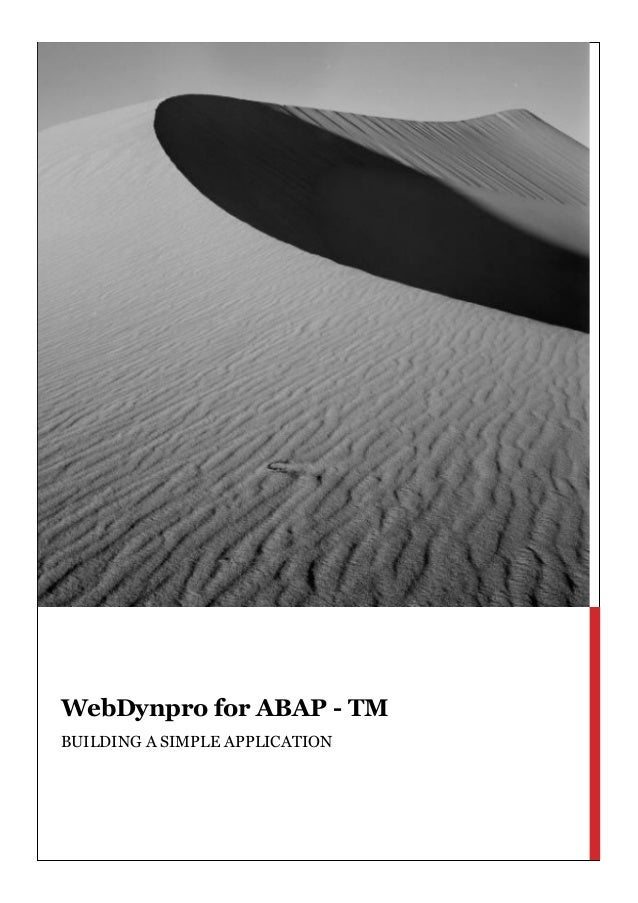 WebDynpro for ABAPTM Building a simple application WebDynpro for ABAP - TM BUILDING A SIMPLE APPLICATION