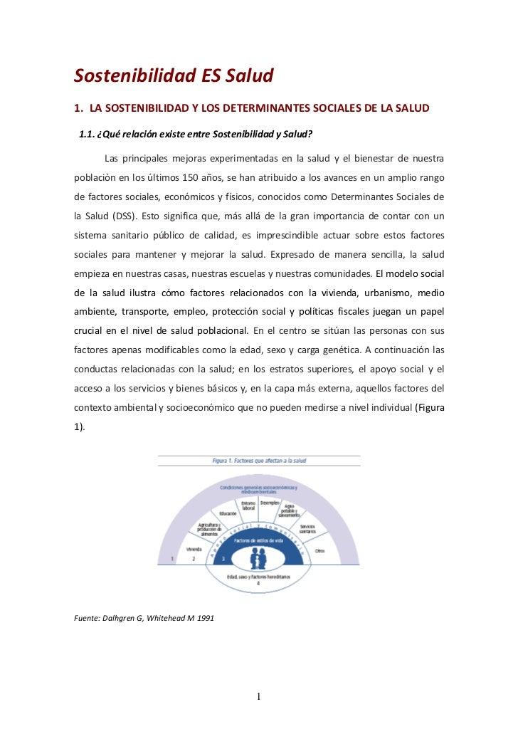 Sostenibilidad ES Salud1. LA SOSTENIBILIDAD Y LOS DETERMINANTES SOCIALES DE LA SALUD 1.1. ¿Qué relación existe entre Soste...