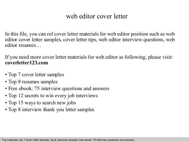 Web editor cover letter – Web Editor Job Description