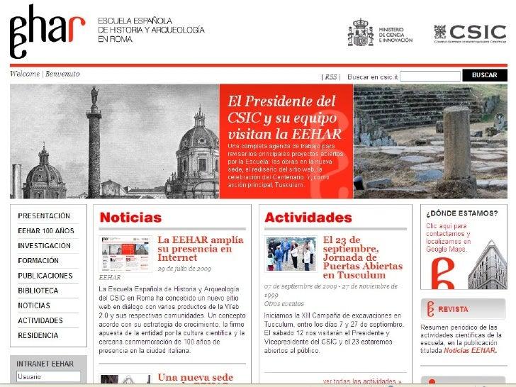 Presentación sede web eehar. Septiembre 2009 Slide 3