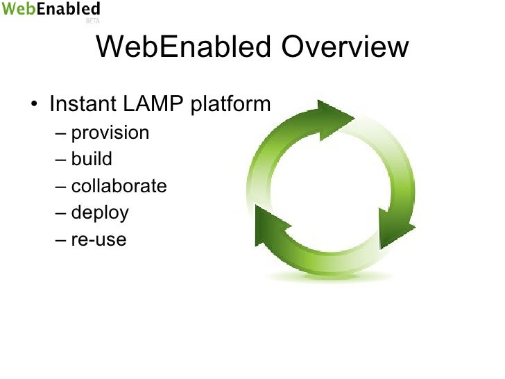 WebEnabled Overview <ul><li>Instant LAMP platform </li></ul><ul><ul><li>provision </li></ul></ul><ul><ul><li>build </li></...