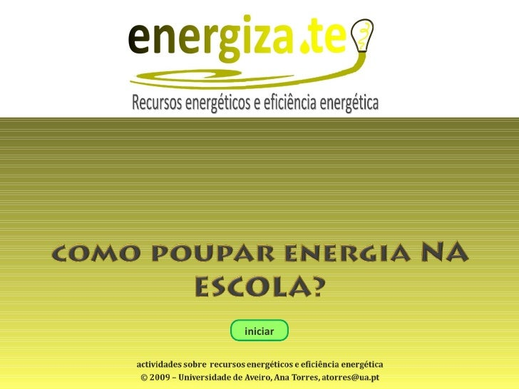 iniciar Recursos energéticos e eficiência energética