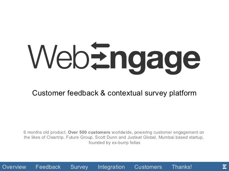 Customer feedback & contextual survey platform 6 months old product,  Over 500 customers  worldwide, powering customer eng...