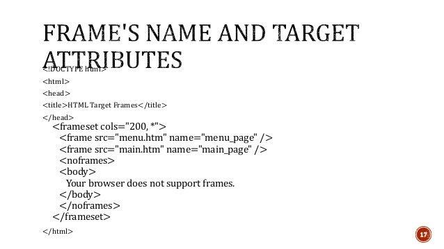 HTML Frameset & Inline Frame