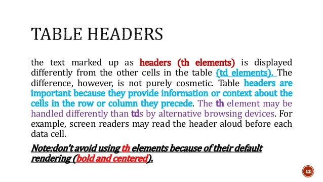 the text marked up as headers (th elements) is displayed  differently from the other cells in the table (td elements). The...