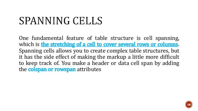 One fundamental feature of table structure is cell spanning,  which is the stretching of a cell to cover several rows or c...