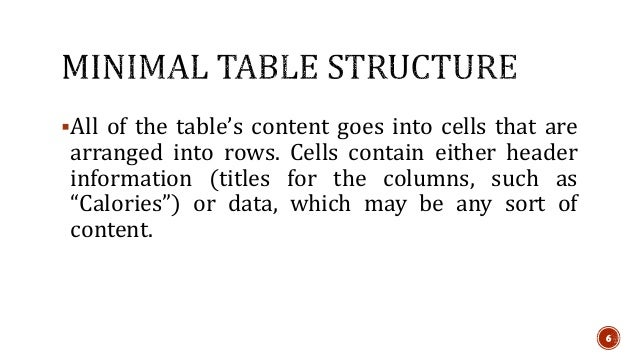 All of the table's content goes into cells that are  arranged into rows. Cells contain either header  information (titles...