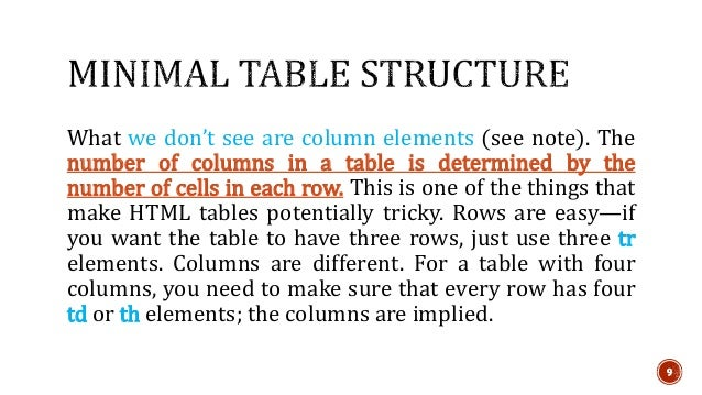 9  What we don't see are column elements (see note). The  number of columns in a table is determined by the  number of cel...