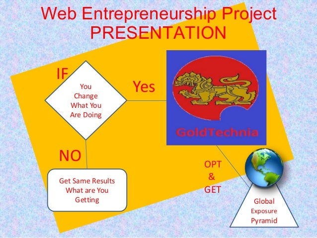 Web Entrepreneurship ProjectPRESENTATIONYouChangeWhat YouAre DoingGet Same ResultsWhat are YouGetting GlobalExposurePyrami...