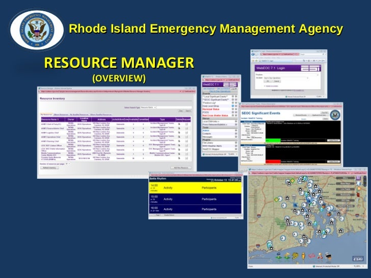 Rhode Island Emergency Management Agency RESOURCE MANAGER  (OVERVIEW)