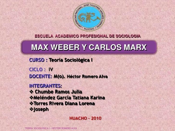 ESCUELA  ACADEMICO PROFESIONAL DE SOCIOLOGIA<br />MAX WEBER Y CARLOS MARX<br />CURSO : Teoría Sociológica I<br />CICLO :  ...