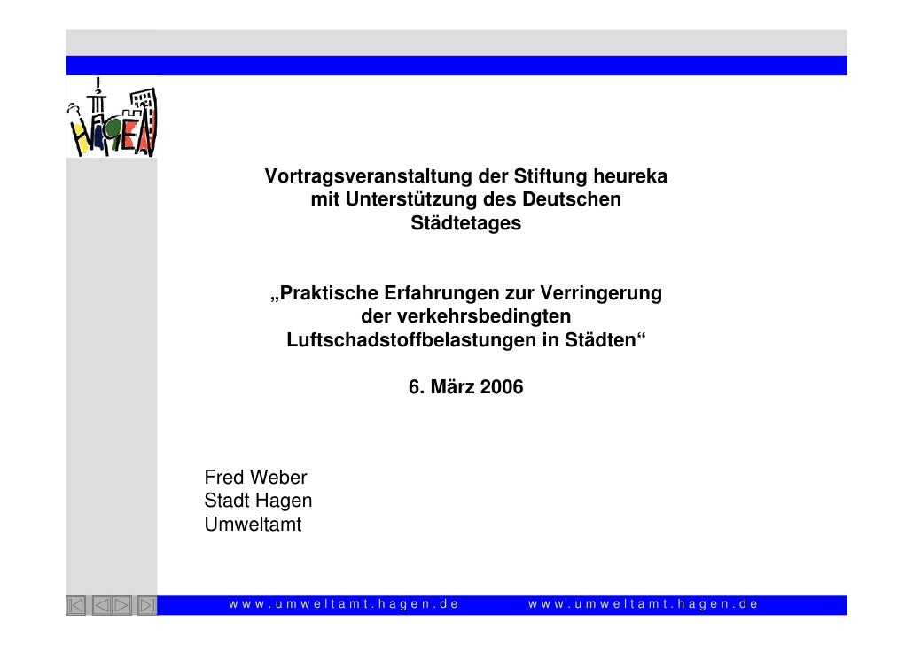 Vortragsveranstaltung der Stiftung heureka            mit Unterstützung des Deutschen                       Städtetages   ...