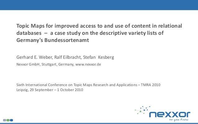 Weber, Eilbracht, Kesberg @ TMRA 2010 1 Sixth International Conference on Topic Maps Research and Applications – TMRA 2010...