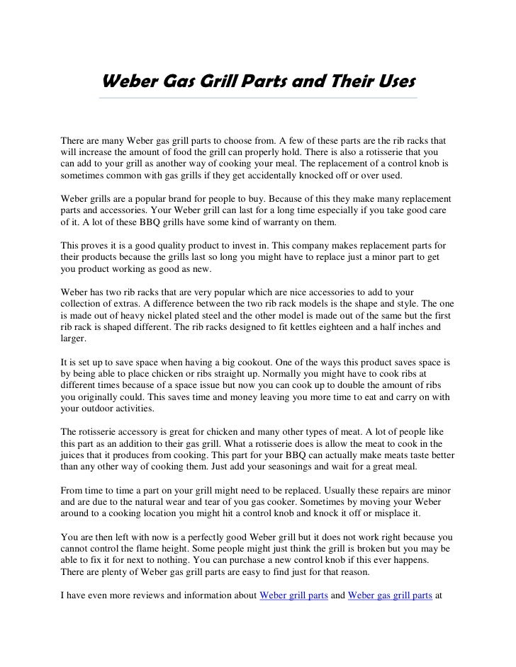 Weber Gas Grill Parts >> Weber Gas Grill Parts And Their Uses