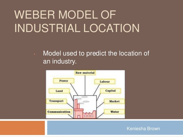WEBER MODEL OFINDUSTRIAL LOCATION  •   Model used to predict the location of      an industry.                            ...