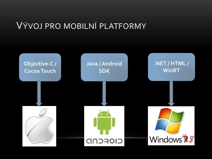 Vývoj pro mobilní platformy<br />.NET / HTML / WinRT<br />Objective-C / Cocoa Touch<br />Java / Android SDK<br />