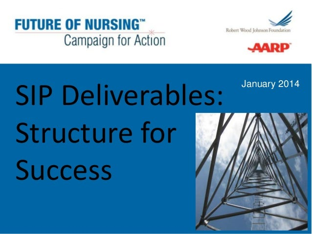 SIP Deliverables: Structure for Success  January 2014