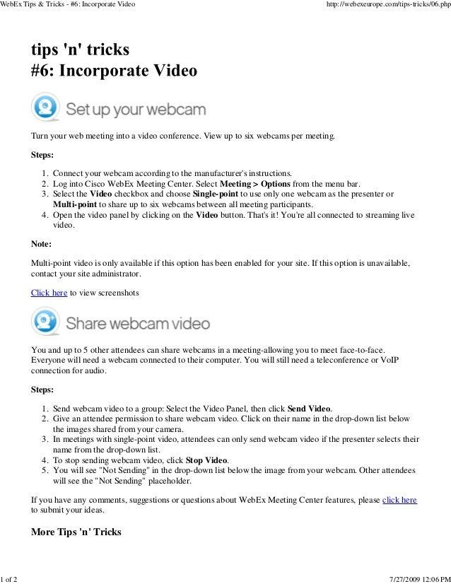 WebEx Tips & Tricks - #6: Incorporate Video                                                      http://webexeurope.com/ti...