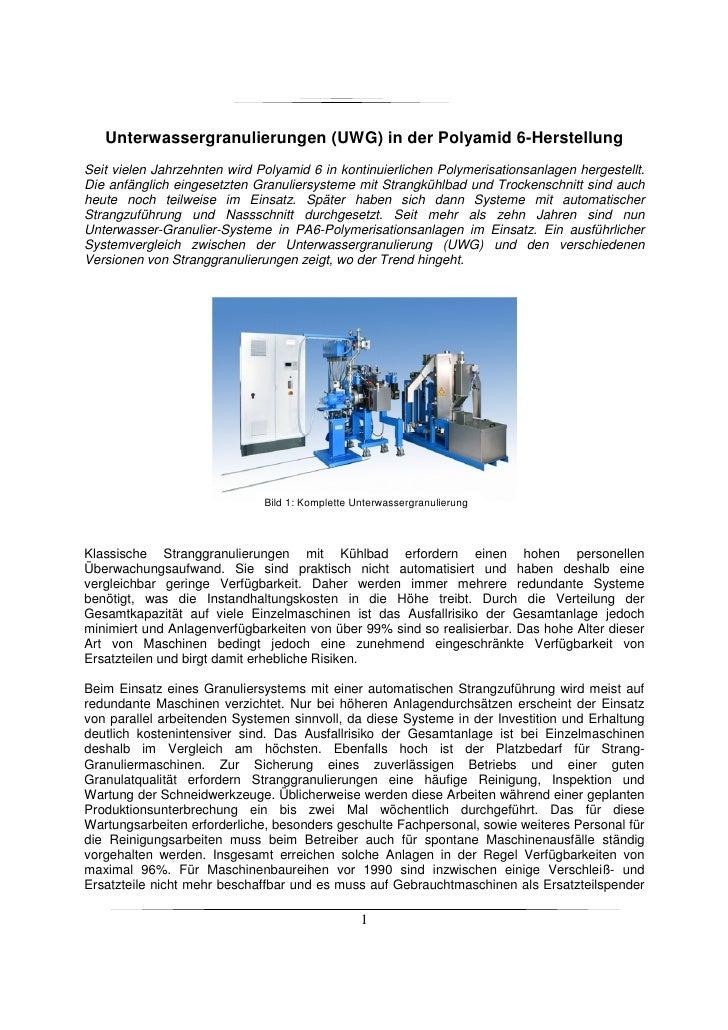 Unterwassergranulierungen (UWG) in der Polyamid 6-Herstellung Seit vielen Jahrzehnten wird Polyamid 6 in kontinuierlichen ...