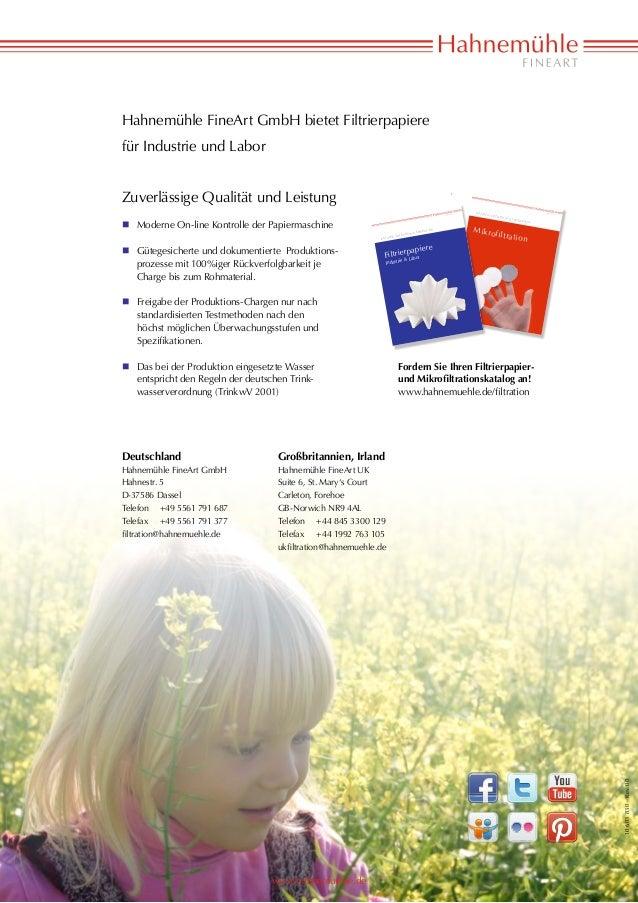 Hahnemühle FineArt GmbH bietet Filtrierpapierefür Industrie und LaborZuverlässige Qualität und Leistung                   ...