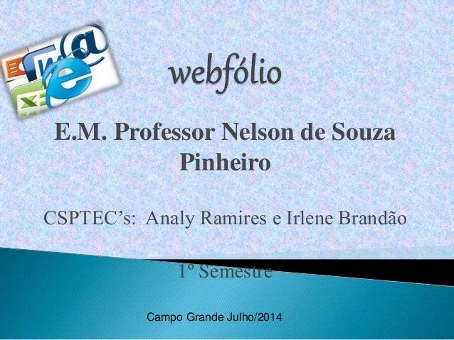 E.M. Professor Nelson de Souza Pinheiro CSPTEC's: Analy Ramires e Irlene Brandão 1º Semestre Campo Grande Julho/2014