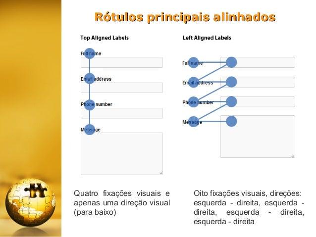 Rótulos principais alinhados  Quatro fixações visuais e apenas uma direção visual (para baixo)  Oito fixações visuais, dir...