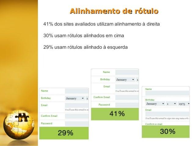 Alinhamento de rótulo 41% dos sites avaliados utilizam alinhamento à direita 30% usam rótulos alinhados em cima 29% usam r...