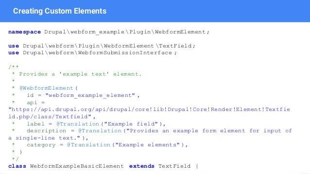 Webform and Drupal 8