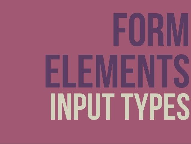 Form elements input types