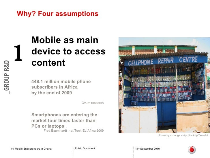 Why? Four assumptions Mobile Entrepreneurs in Ghana 11 th  September 2010 Mobile as main device to access content 1 448.1 ...