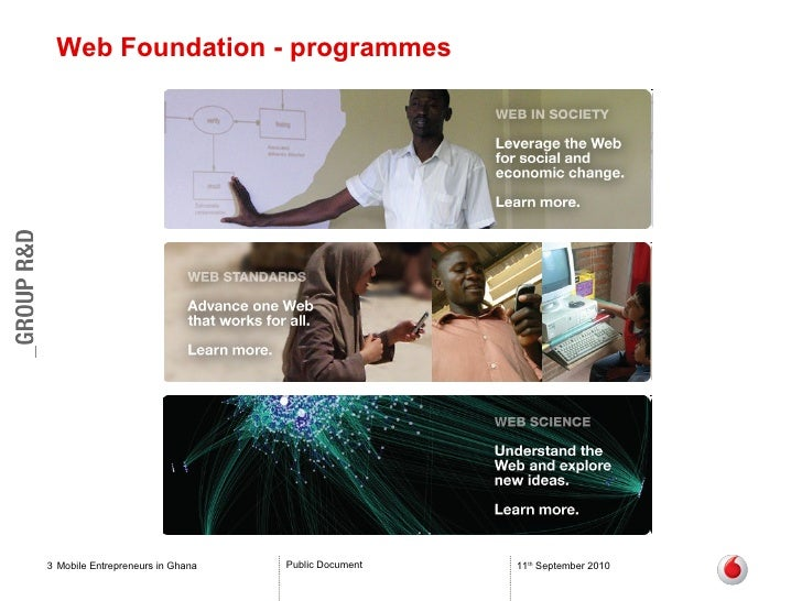 Web Foundation - programmes Mobile Entrepreneurs in Ghana 11 th  September 2010