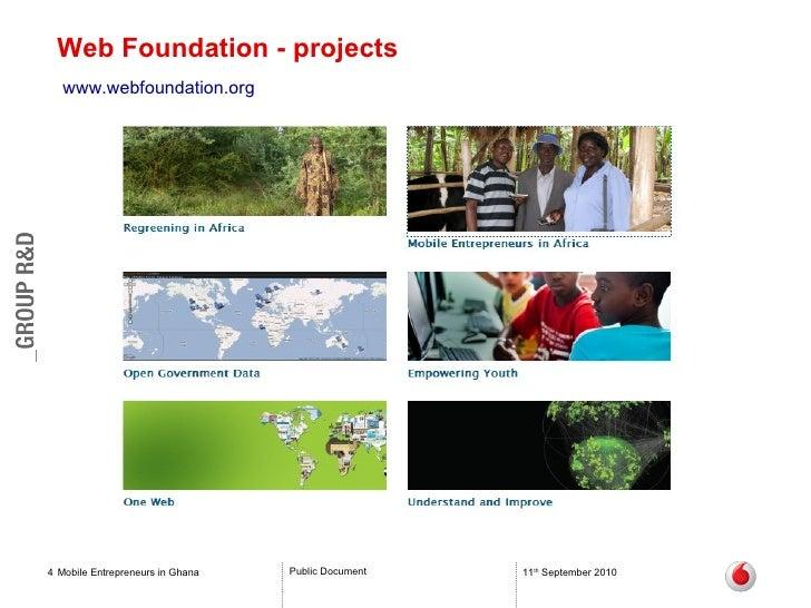 Web Foundation - projects Mobile Entrepreneurs in Ghana 11 th  September 2010 www.webfoundation.org