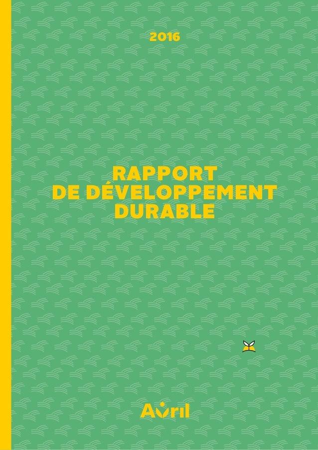 RAPPORT DE DÉVELOPPEMENT DURABLE 2016