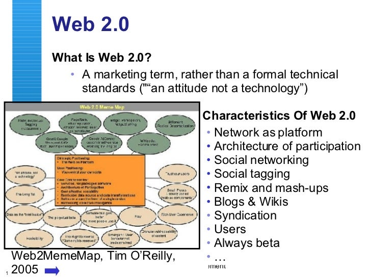 """Web 2.0 <ul><li>What Is Web 2.0? </li></ul><ul><ul><li>A marketing term, rather than a formal technical standards (&quot;""""..."""
