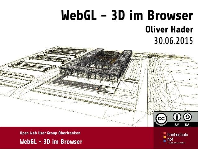 WebGL - 3D im Browser Oliver Hader 30.06.2015 Open Web User Group Oberfranken WebGL - 3D im Browser