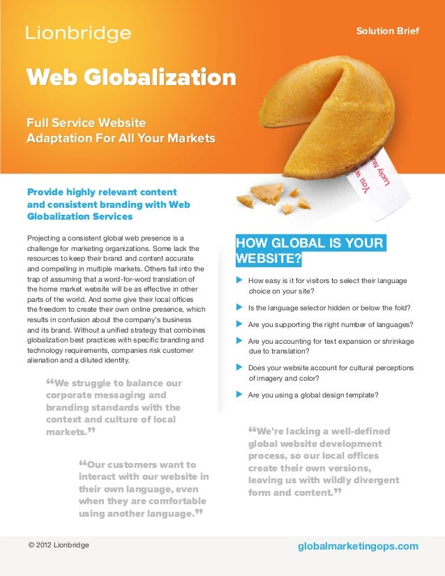 Solution Briefglobalmarketingops.comWeb GlobalizationFull Service WebsiteAdaptation For All Your MarketsProvide highly rel...
