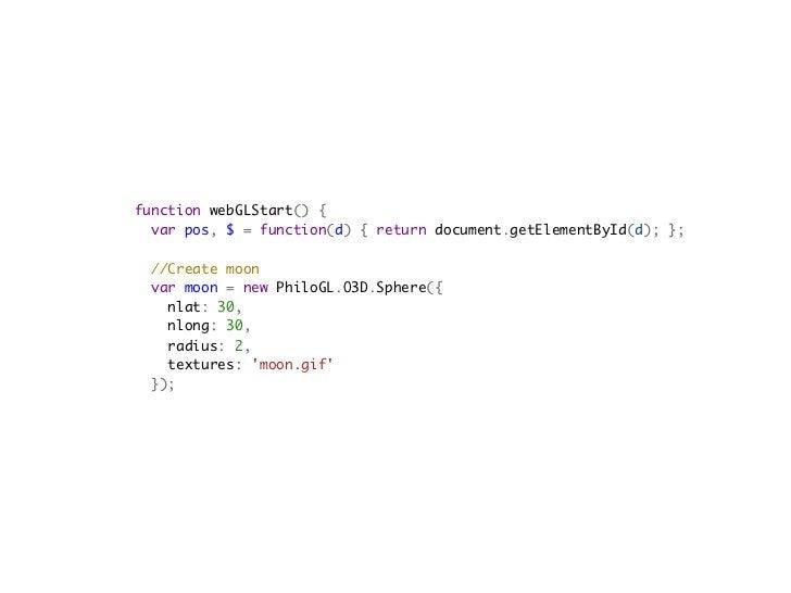 //Add object to the scene   scene.add(moon);      //Draw the scene   draw();    function draw() {  ...