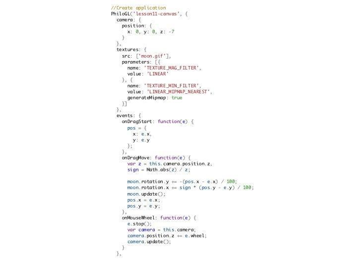 Some more resources-   An Introduction to WebGL @ dev.Opera-   PhiloGL-   PhiloGL tutorial-   WebGL w/o a library @ dev.Op...