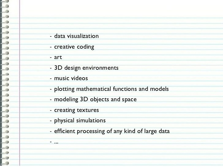 -   data visualization-   creative coding-   art-   3D design environments-   music videos-   plotting mathematical functi...