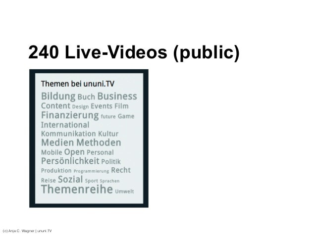 (c) Anja C. Wagner   ununi.TV 240 Live-Videos (public)