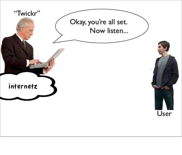 """Twickr""             Okay, you're all set.                    Now listen...     internetz                                 ..."