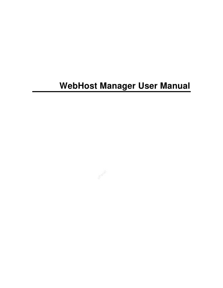 WebHost Manager User Manual           el          an        cP