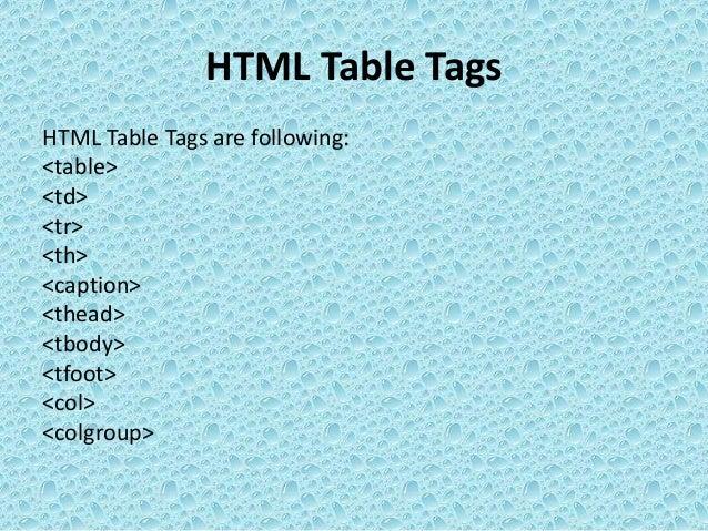 Web html  table tags Slide 2
