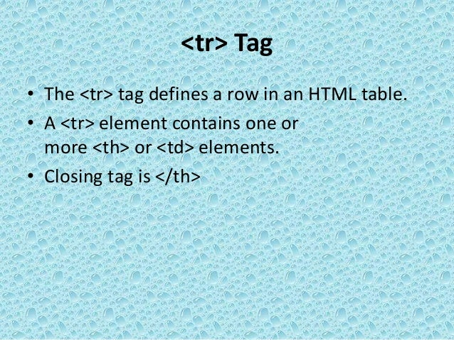 Web html table tags for Tag table html
