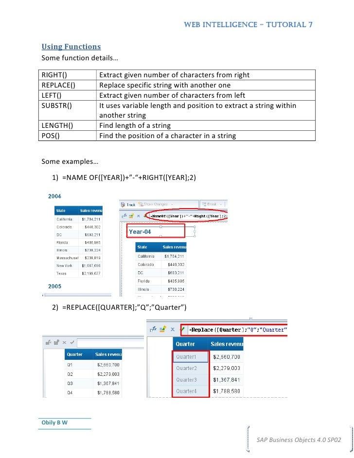 business objects web intelligence Create complex web intelligence documents using advanced query and   bow310 sap businessobjects web intelligence: report design designing web .