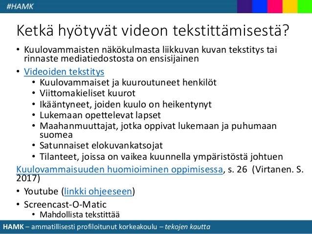 Poluttamo-webinaari: Multimodaalisista työkaluista & ePortfolioista - Tarjaleena Tuukkanen, HAMK Slide 3